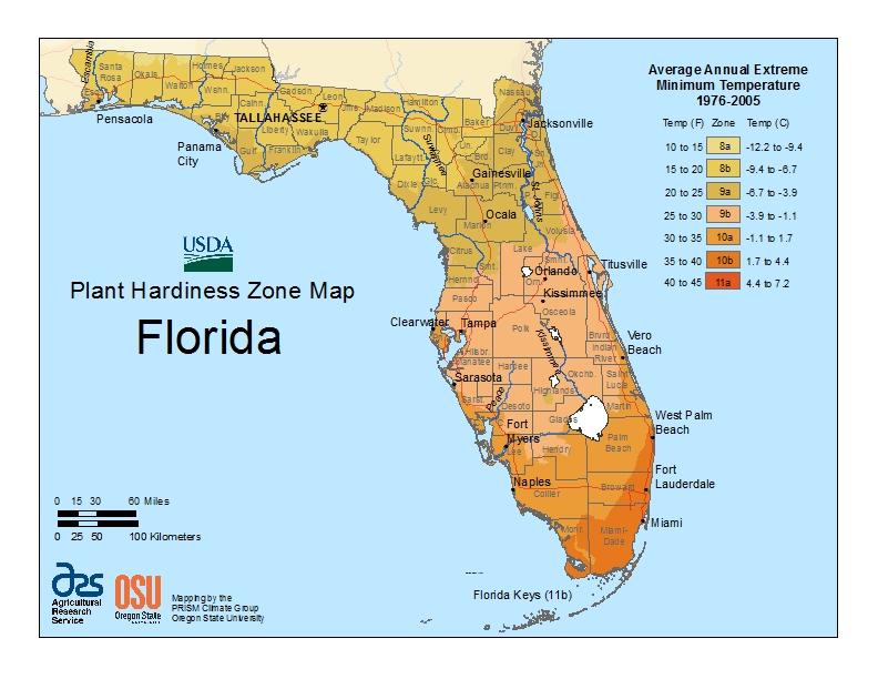 Florida Plant Hardiness - Zone 9 Map