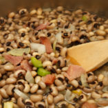 Fresh black-eye peas with ham, onions, and celery